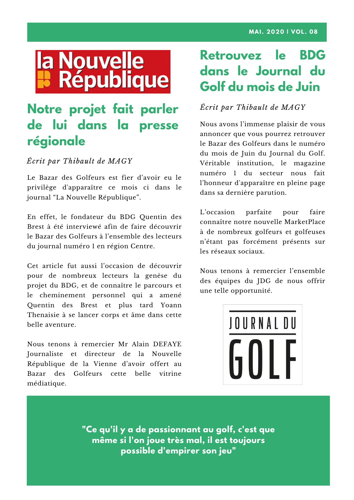 Newsletter le Bazar des Golfeurs Mai 2020 - Vol.8